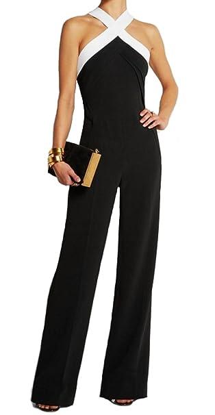 bd7e255c8c6f emmarcon Tuta con Pantaloni Lungo Vestito Abito Cerimonia da Donna Elegante  Casual Party  Amazon.it  Abbigliamento