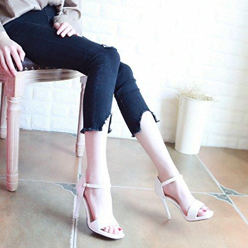 e europea Estate nuova white alto sexy YMFIE donna scarpe da sandali punta cinturino qYfnRCw