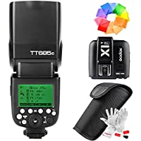 Godox TT685F X1T-F Flash Trigger Kit for Fujifilm Fuji Camera 2.4G TTL GN60 1/8000S HSS 0.1-2.s Recycle Time 230 Full Power Flashes 22 Steps Power Output - With Color Filters and PERGEAR Cleaning Kit
