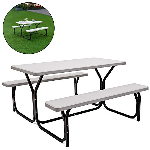 - DUSTNIE Outdoor Camping Picnic Table Set - Attached Bench Patio Garden Backyard Front Porch Pool Outside Dining Set W/Benches - White