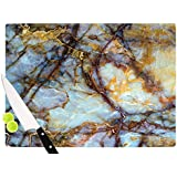 "KESS InHouse KIH227ACB01 KESS Original ""Opalized Marble"" Blue Brown Cutting Board, 11.5 x 8.25"", Multicolor"