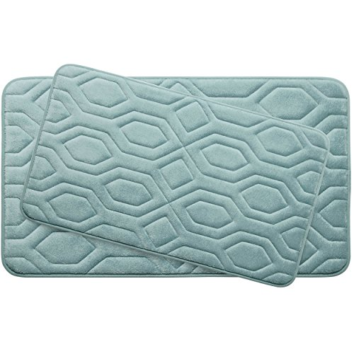 Bounce Comfort Extra Thick Memory Foam Bath Mat Set - Turtle Shell Premium Plush 2 Piece Set with BounceComfort Technology, 20 x 32 in. Aqua -  YMF Carpets Inc., YMB003757