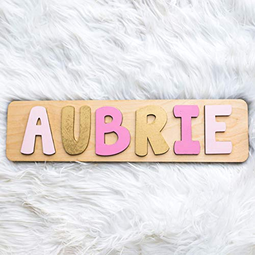 Amazon Com Name Puzzle Girl Personalized Pink And Gold Christmas