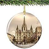Barcelona Christmas Ornament, Porcelain 2.75'' Double Sided Spain Christmas Ornaments