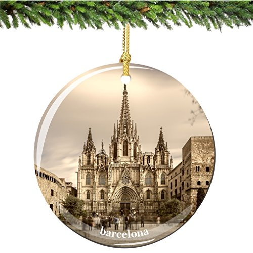 Barcelona Christmas Ornament, Porcelain 2.75'' Double Sided Spain Christmas Ornaments by City-Souvenirs