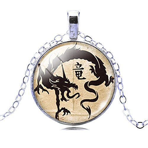 Women Mystical Ancient Chinese Dragon Crystal Time Gem Art Pendant Dangle Silver Chain (Mystical Crystal)