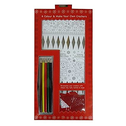 make and colour your own christmas crackers pack of 6 with tags silk