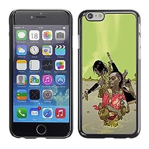 Carcasa Funda Prima Delgada SLIM Casa Case Bandera Cover Shell para Apple Iphone 6 / Business Style Green Abstract Machine Gun War