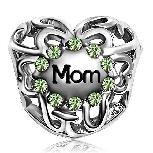 JMQJewelry Mom Heart August Green Love Charms Beads for Bracelets Christmas