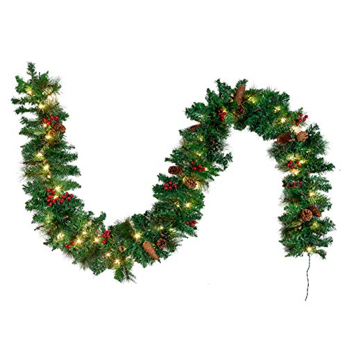 JOYIN Premium 9 Foot by 10 Inch Artificial Christmas Garland Prelit with 50 Lights,and Silver Bristle, Pine Cones, Red Berries (White Garland Christmas Buy)