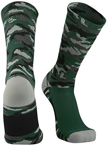 TCK Sports Elite Woodland Camo Crew Socks, Dark Green, Large