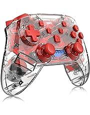 Controlador de jogo com punho de polegar para gamepads sem fio Bluetooth transparentes joystick de console remoto para switch NS Pro(Vermelho transparente)