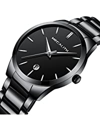 Mens Stainless Steel Watches Men Luxury Waterproof Date Casual Analog Wrist Watch with Black Dial (Black)