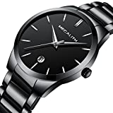 Mens Stainless Steel Watches Men Luxury Waterproof Date Casual Analog Wrist Watch with Black Dial