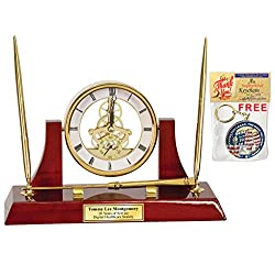 Gold Da Vinci Mantel Table Swivel Clock Suspended on Wood Cherry Stand with Two Pens and Letter Opener Recognition Retirement Promotion Award Gift