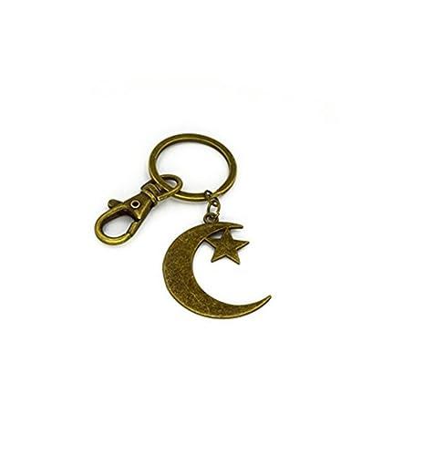 Llavero, diseño de luna, luna y pentagrama llavero, luna con ...