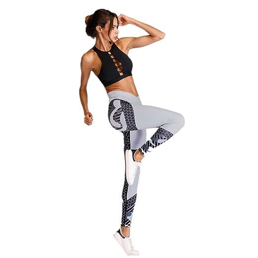 Zgsjbmh Pantalones de Yoga Grey Color Hit Sport Fitness para ...