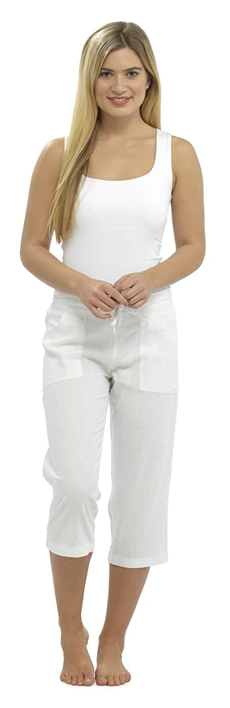 Ladies Women 3/4 Length Linen Trousers With Elasticated Waist