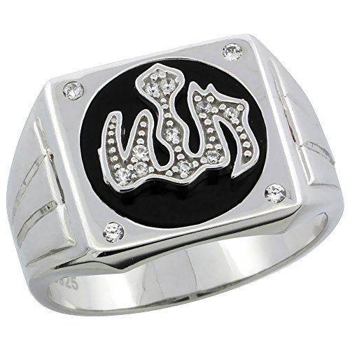 - Mens Sterling Silver Black Onyx Allah Ring CZ Stones & Frosted Stripes on Sides, 1/2 inch wide, size 8