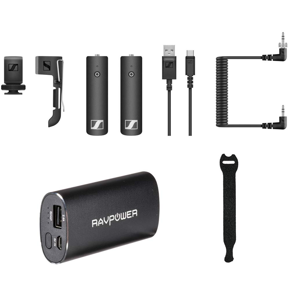 Sennheiser XSW-D Portable Base Set with RAVPower Luster 6700mAh Charger & Fastener Straps 10-Pack Bundle by Sennheiser