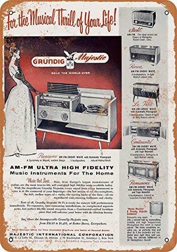 - MMGHGT Vintage Look Metal Sign - 1956 Grundig Radios Wall Plaque Sign 8X12 Inch
