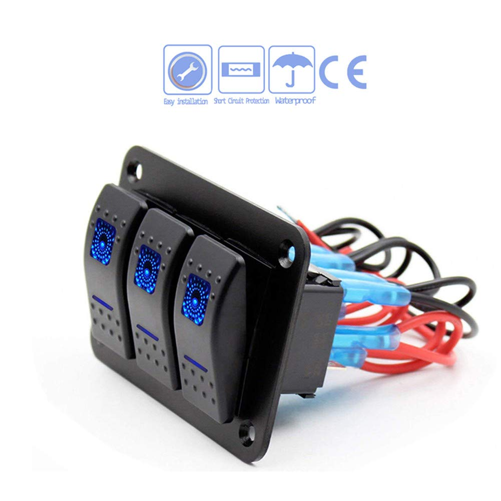 3 4 6 8 Gang Rocker Switch Panel Toggle Switches with Blue LED Light for RV Yacht Marine Boat Truck Camper 12V Waterproof