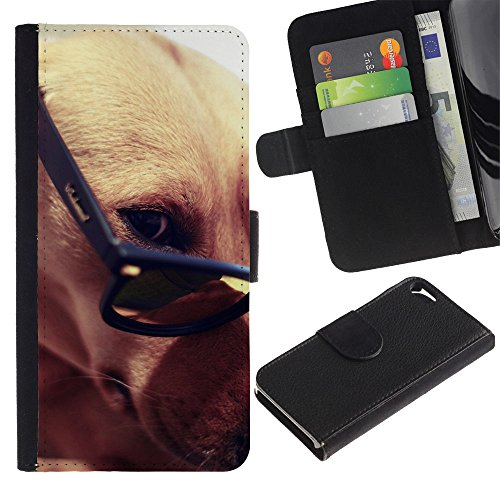 EuroCase - Apple Iphone 5 / 5S - greyhound glasses smart dog brown - Cuero PU Delgado caso cubierta Shell Armor Funda Case Cover