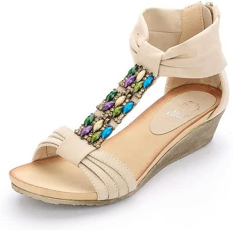 Alexis Leroy Women Fashion Wedge Heel Bright Color Rhinestone Pattern Sandals