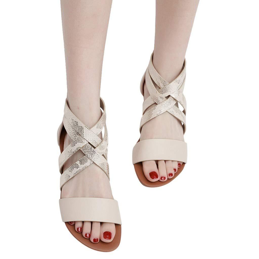 Hilotu Women's Summer Cross Lattice Strappy Flat Sandal Peep Toe Fish Mouth Flat Shoes Fashion Retro Versatile Shoes (Color : Khaki, Size : 6 M US)