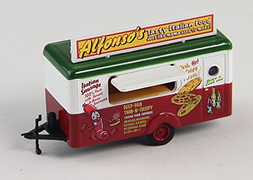 Oxford Diecast 76TR012 Mobile Food Trailer Alfonso's Tasty Italian Food & Pizza 1:87 Scale Diecast Modle in Display Case