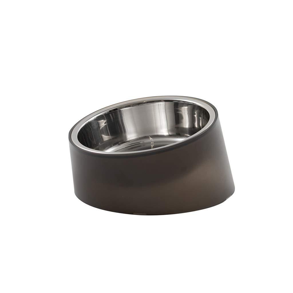 Black Dog Bowl Predection Cervical greenebra Pet Bowl Non-Slip Single Bowl Large Rice Bowl Stainless Steel (color   Black)