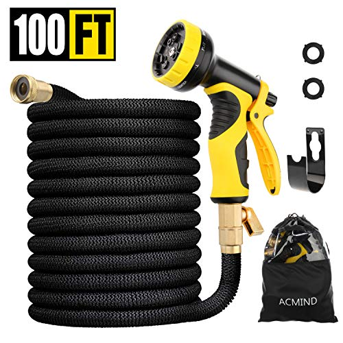 Acmind 100FT Expandable Garden Hose, Extra Strength Fabric and Double Latex Core Water Hose, 3/4″ Solid Brass Fittings Flexible No-Kink Expanding Hose with 9 Function Spray Nozzle