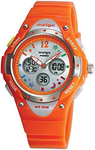 Pasnew Water-proof 100m Dual Time Unisex Child Outdoor Sport Watch Orange