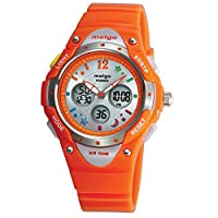 Jewtme Pasnew Boys Grils LED Waterproof 100m Dual Time Unisex Children Outdoor Sport Watch (Red)