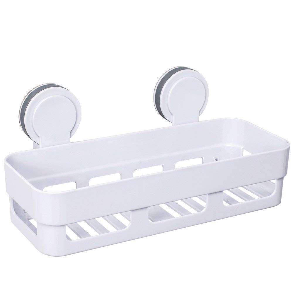 Gricol Bathroom Shower Shelf Shower Caddy Plastic Suction Cup No Damage Wall Mount
