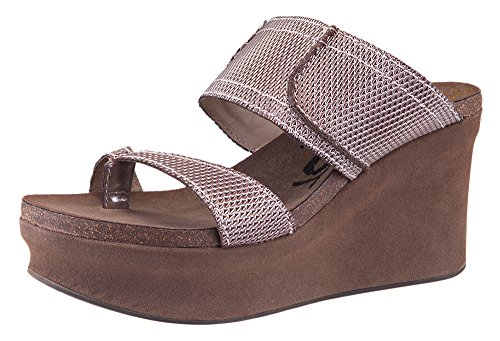 OTBT Shoes Women's Brookfield Wedge Sandal - Pewter Mesh - - Brookfield Usa
