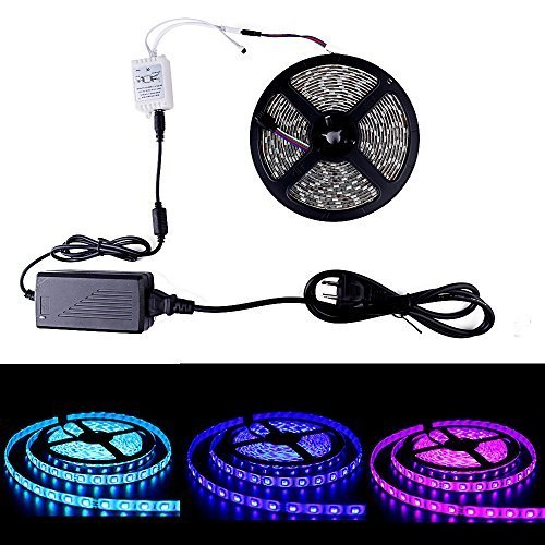 Sanwo 16.5ft Flexible RGB LED Strip Lights, Waterproof IP65, 300 Unites LEDs, 5050 SMD LED Ribbon with 12V Power Supply Adapter + 44Key Remote Controller (5050-RGB) by Sanwo (Image #4)