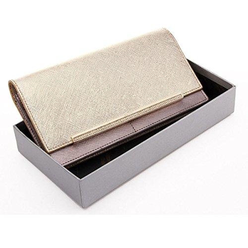 Versión Coreana Señora Cuero Bolso De Tarde Señoras Con Taladro Cadena Hombro Embrague Carpeta Móvil Gold