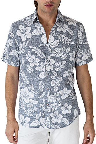 Retro Lounge - Woody's Retro Lounge Paradise Hawaiian Shirt with Tropical Prints - Summer Essentials (Grey, Large)