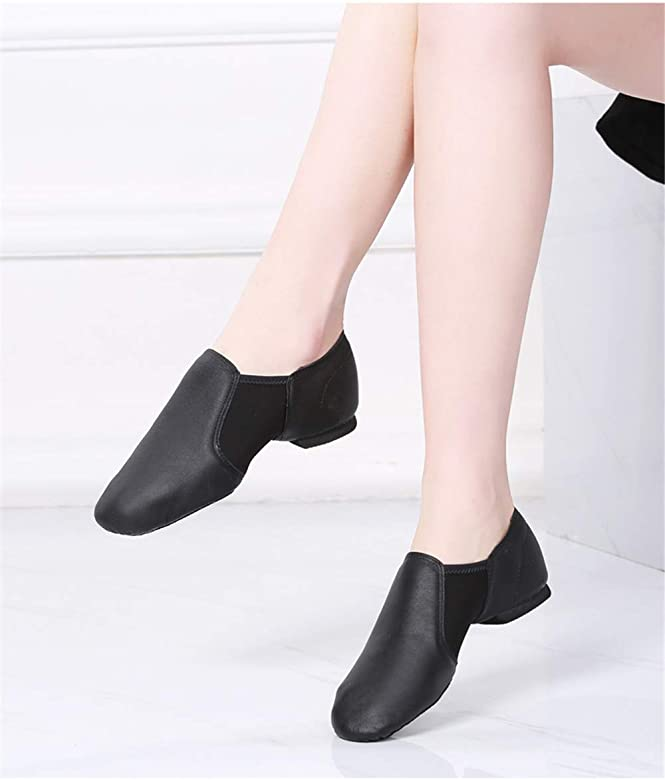 JOINFERR Girls Boys Jazz Shoes Women Soft Dance Shoes Leather Black Jazz Shoes for Ladies Mens
