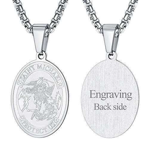 FaithHeart Saint Michael Pendant Necklace, Custom Engravable St. Michael The Archangel Necklace Jewelry (Oval/Silver)
