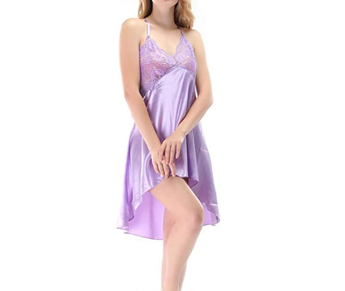 89f6032cb Image Unavailable. Image not available for. Color  Sexy Lace Satin V Neck  Lingerie Women Night Dress Sleepwear Sleeveless Night Gown ...