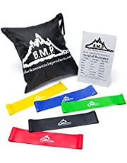 Black Mountain Products Loop Resistance Exercise Bands with Carrying Case, Pack of 5