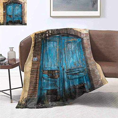 HCCJLCKS Throw Blanket Rustic Broken Greek Doorway Design Print Digital Printing Blanket W54 xL72 Traveling,Hiking,Camping,Full Queen,TV,Cabin -