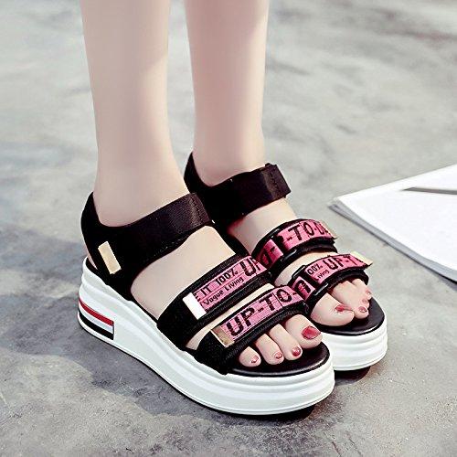 RUGAI-UE Fondo grueso sandalias Verano Mujer zapatos de mujer Gules