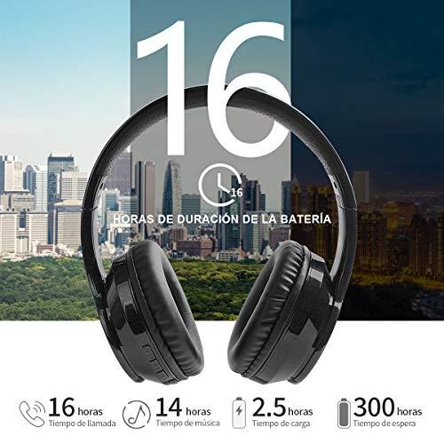 Auriculares Inalámbricos Bluetooth Diadema, Cascos Cerrados Inalambricos MicróFono Incorporado, Plegables Alta Fidelidad Estéreo Auriculares para PC/ MP3/Móviles/TV (Negro Metalizado)