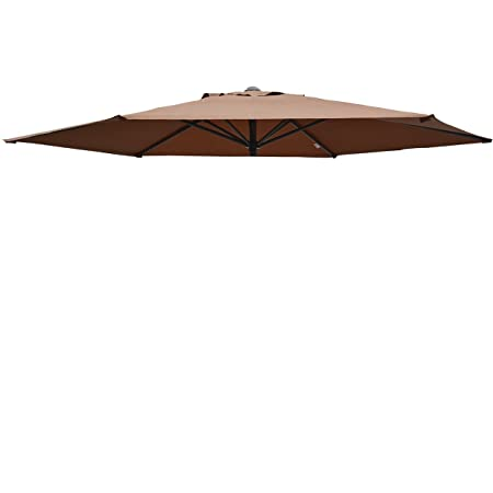 Umbrella Cover Canopy 9ft 6 Rib Patio Replacement Top Outdoor-Brown