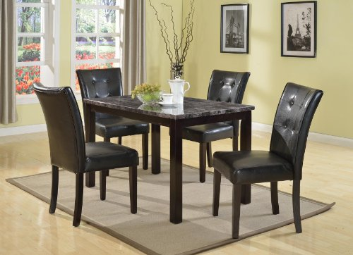 Roundhill Furniture Praia 5-Piece Artificial Dark Faux Marble Top Dinette Table and 4 Chairs Set