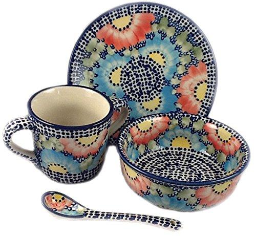 (Polish Pottery Baby Plate Mug Bowl Spoon in Unikat U1 or Gypsy Jazz)