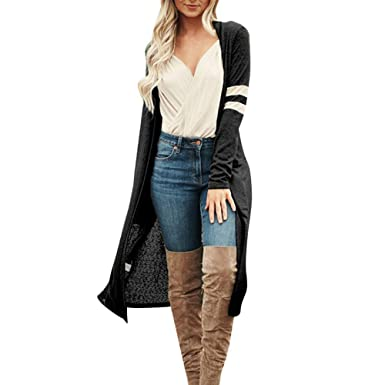 fd7d69e0578b Amazon.com: Woaills-Tops 2018 New!!Women Loose Cardigan,Ladies Casual Sexy  Long Sleeve Open Front Patchwork Coat: Clothing
